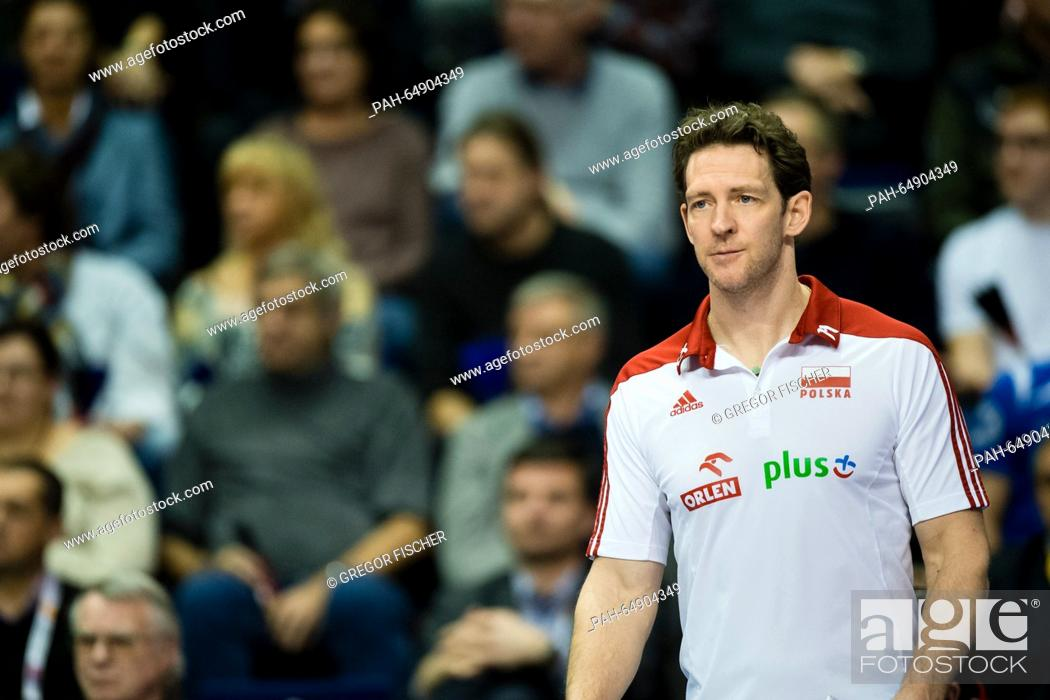 Poland's coach Stephane Antiga reacts during the men's volleyball