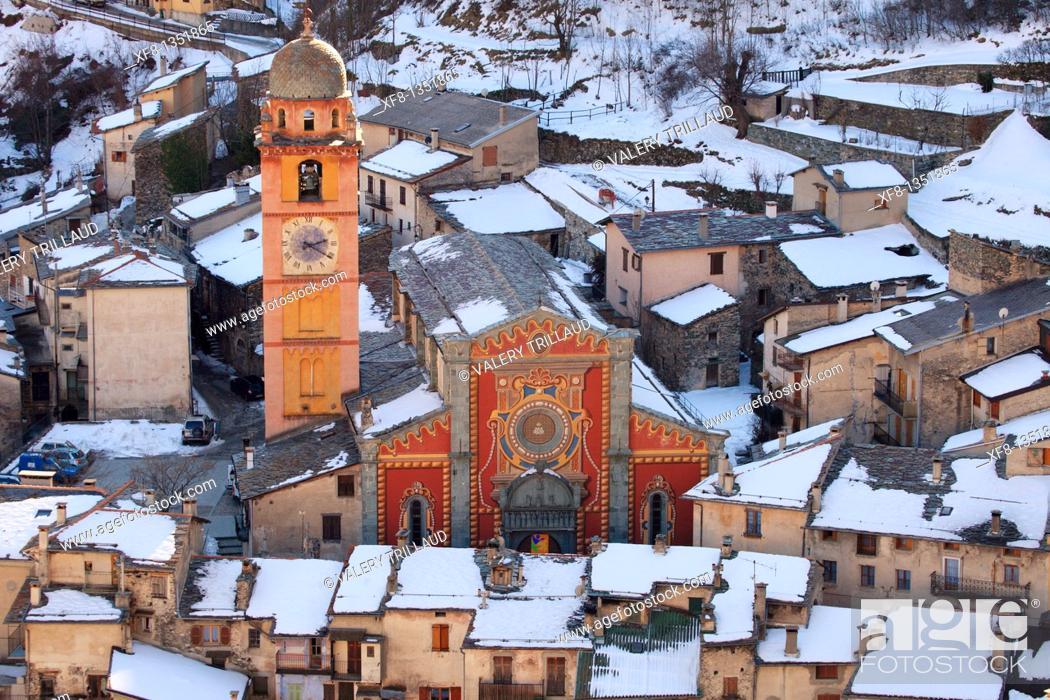 Stock Photo: The village of Tende and La Collegiale Vallee de la Roya Alpes-MAritimes 06 PACA FRance Europe.
