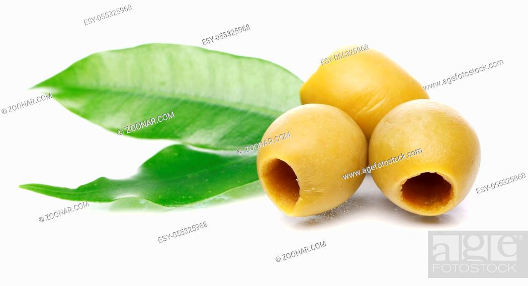 Stock Photo: Green olives over white background.