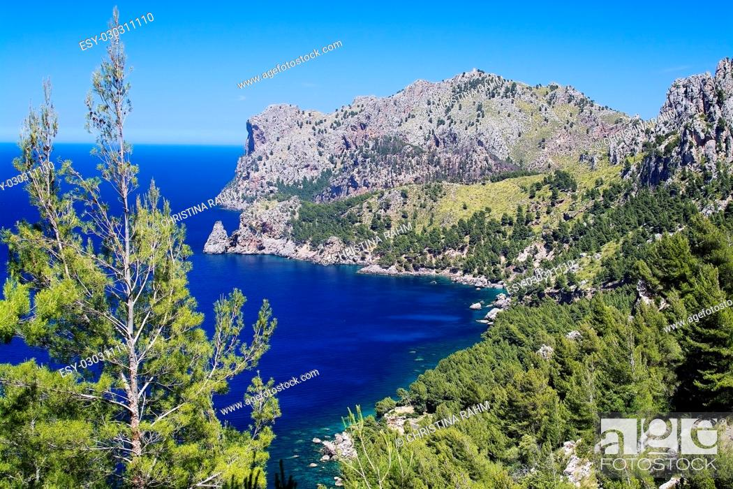 Stock Photo: Walking path nature landscape sea view in Tramuntana mountains between Soller and Cala Tuent, Mallorca, Spain.