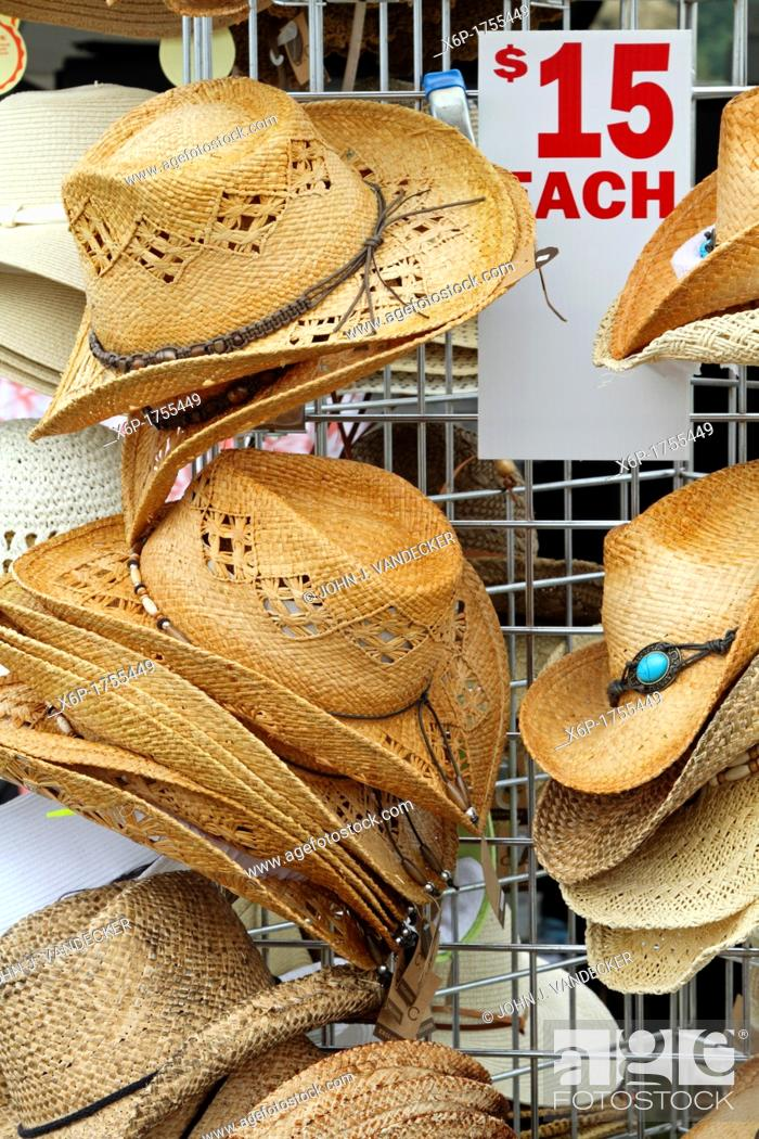 Stock Photo: Straw hats on display and for sale at the Quick Chek 30th Annual Festival of Ballooning Readington, New Jersey, USA.