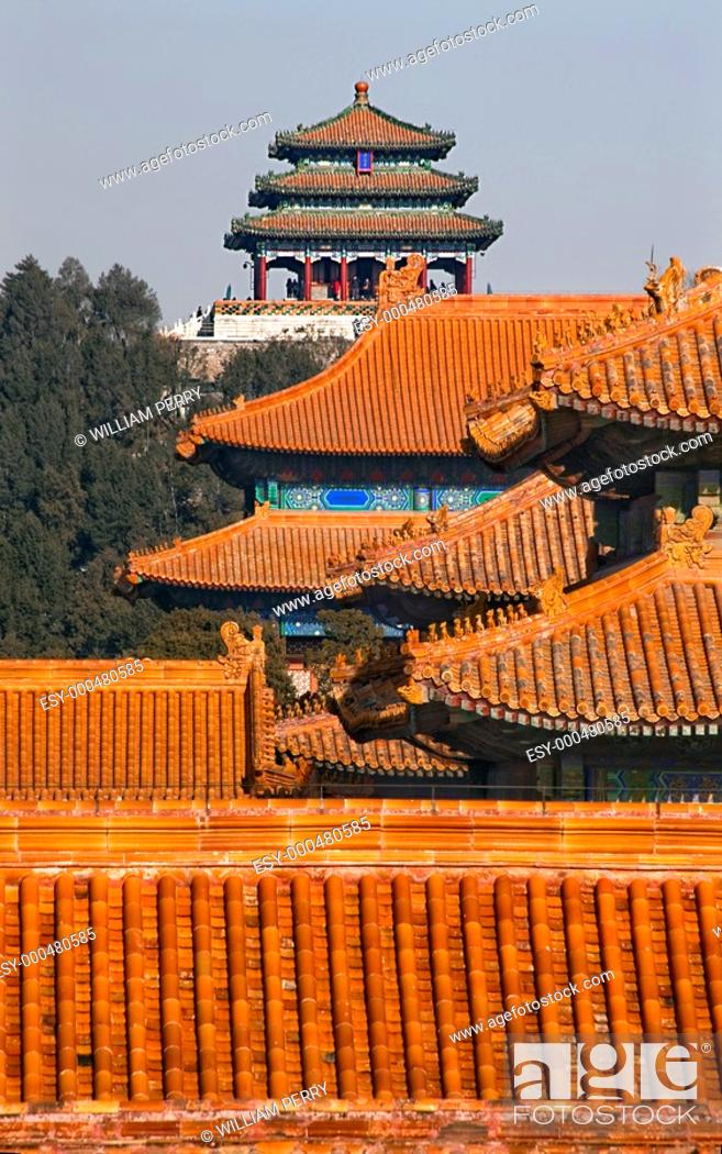 Stock Photo: Jinshang Park Pavilions from Forbidden City Yellow Roofs Gugong Decorations Emperor's Palace Built in the 1400s in the Ming Dynasty.