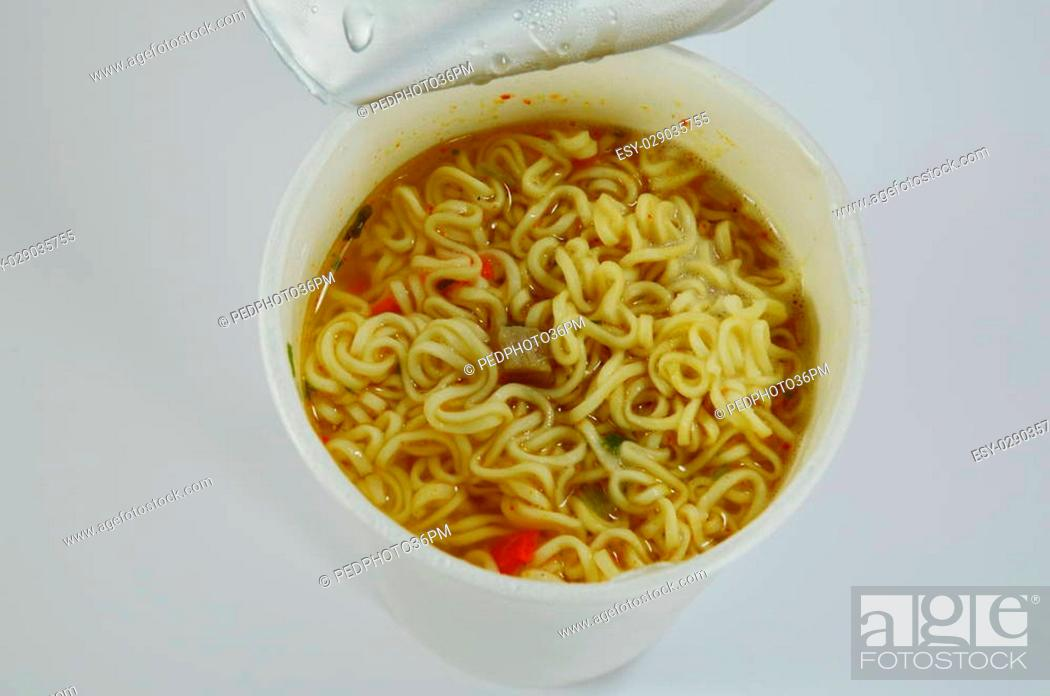 Stock Photo: instant noodle in paper cup.