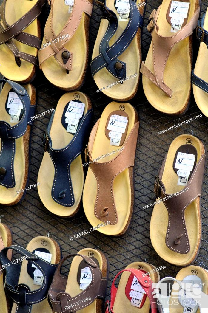 Stock Photo: Sandals for sale.
