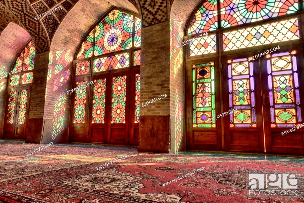 Stock Photo: in iran blur colors from the windows the old mosque traditional scenic light.