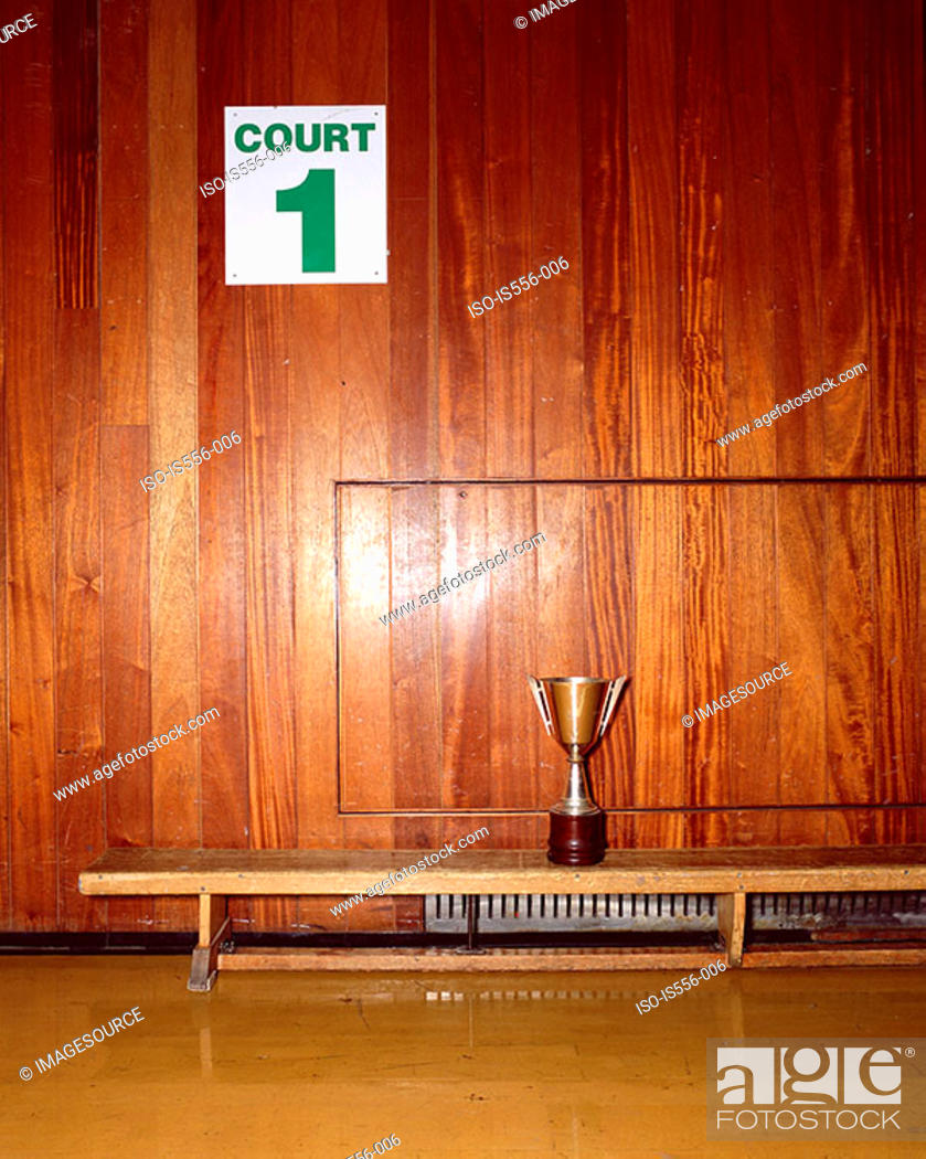 Stock Photo: Trophy in sport court.
