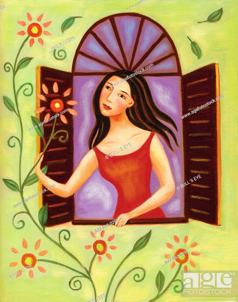 Stock Photo: Young woman looking at flowers outside her window.