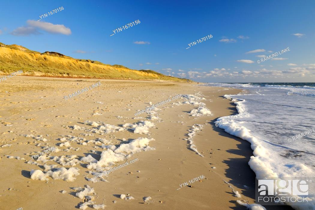 Stock Photo: Beach, Germany, Schleswig Holstein, Sylt, Red Cliff, North Frisian Islands, North Sea,.