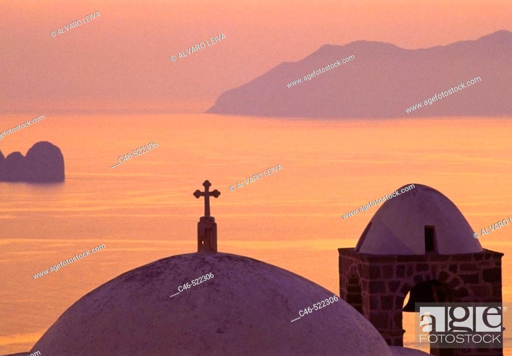 Stock Photo: Sunset in Plaka. Milos. Cyclades Islands. Greece.