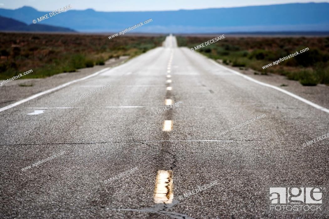 Stock Photo: Empty roadway in deserted, rural area.