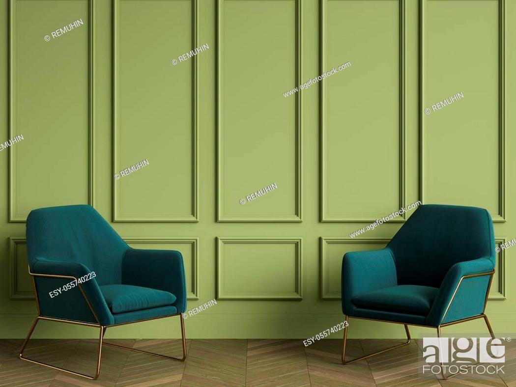 Stock Photo: 2 Green armchairs in classic interior with copy space. Green walls with mouldings. Floor parquet herringbone. Digital Illustration. 3d rendering.