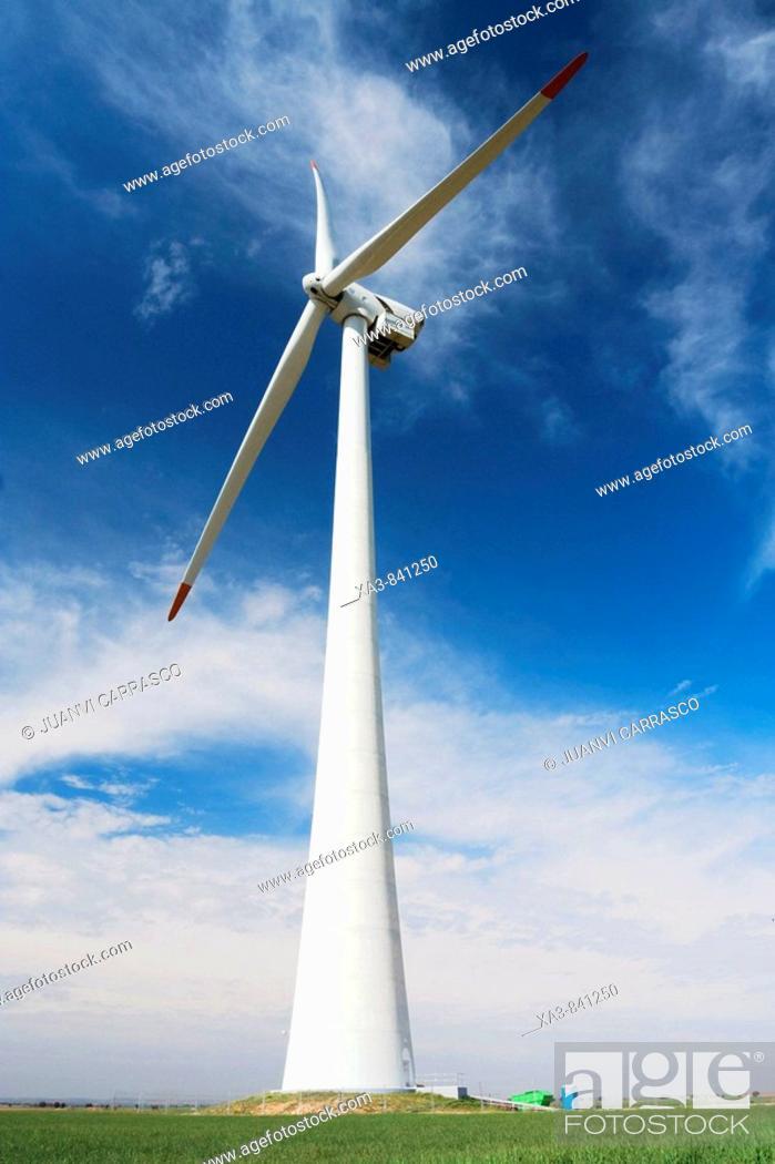 Stock Photo: Wind turbine, Albacete province, Castilla la mancha, Spain.