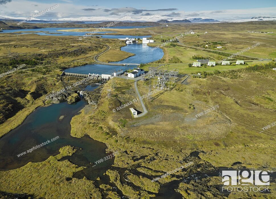 Stock Photo: Coastline Sellfoss, South Coast Iceland. This image is shot from a helicopter. Hydroelectric power plant, Ulfljotsvatn lake, Ljosafoss Power Station, Sellfoss.