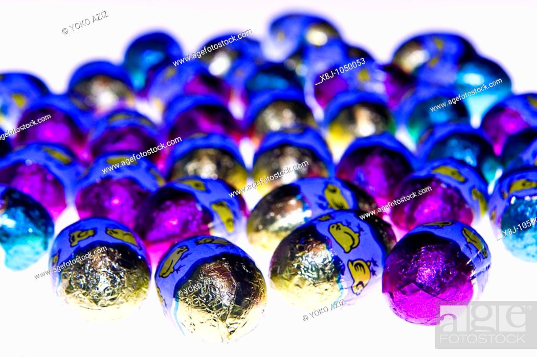 Stock Photo: chocolate eggs.