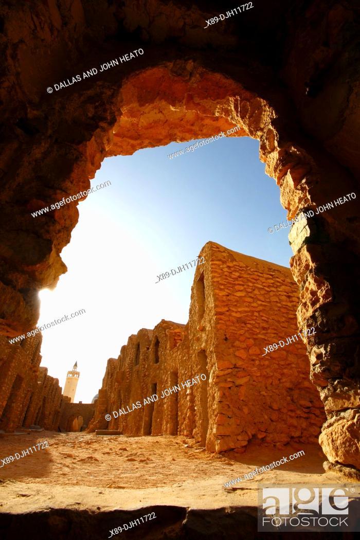 Stock Photo: Africa, Tunisia, Ksar Hadada, Restored Berber Granary with Granary Niches known as Ghorfas.