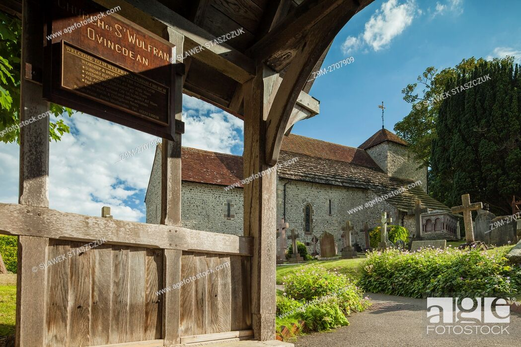 Stock Photo: Norman church of St Wulfran in Ovingdean village near Brighton, East Sussex, England.