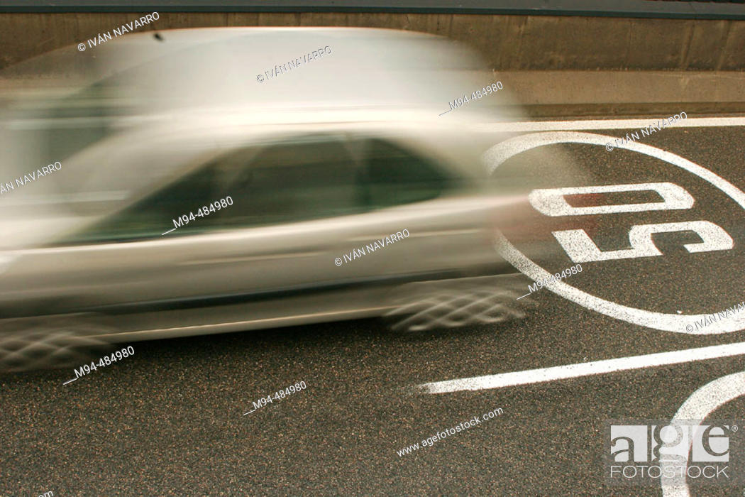 Car Passing On 50 Km H Maximum Speed Sign Stock Photo Picture And