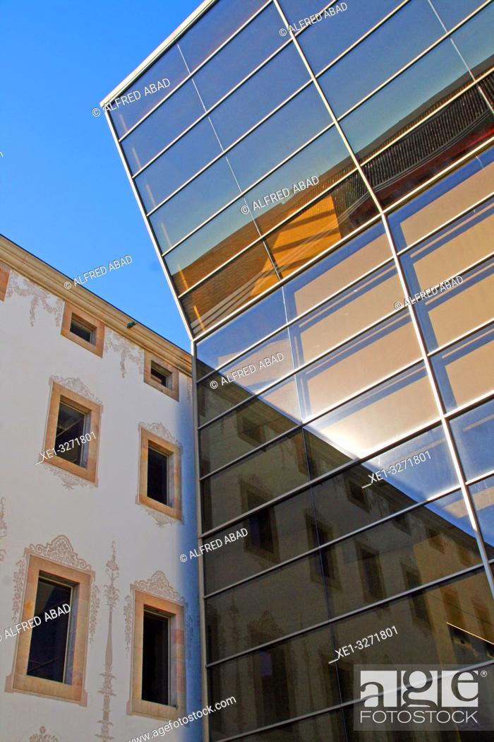 Stock Photo: reflections in the glass, antiga Casa de la Caritat, CCCB, Center for Contemporary Culture of Barcelona, Catalonia, Spain.