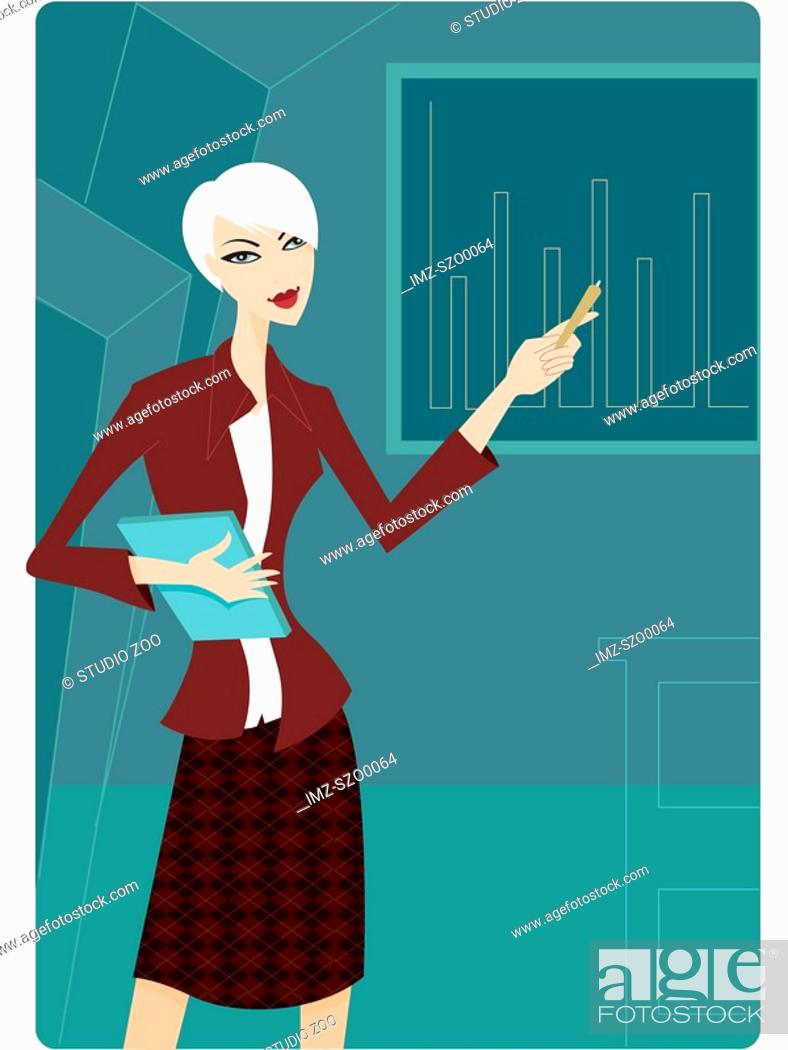 Stock Photo: Businesswoman giving a presentation.