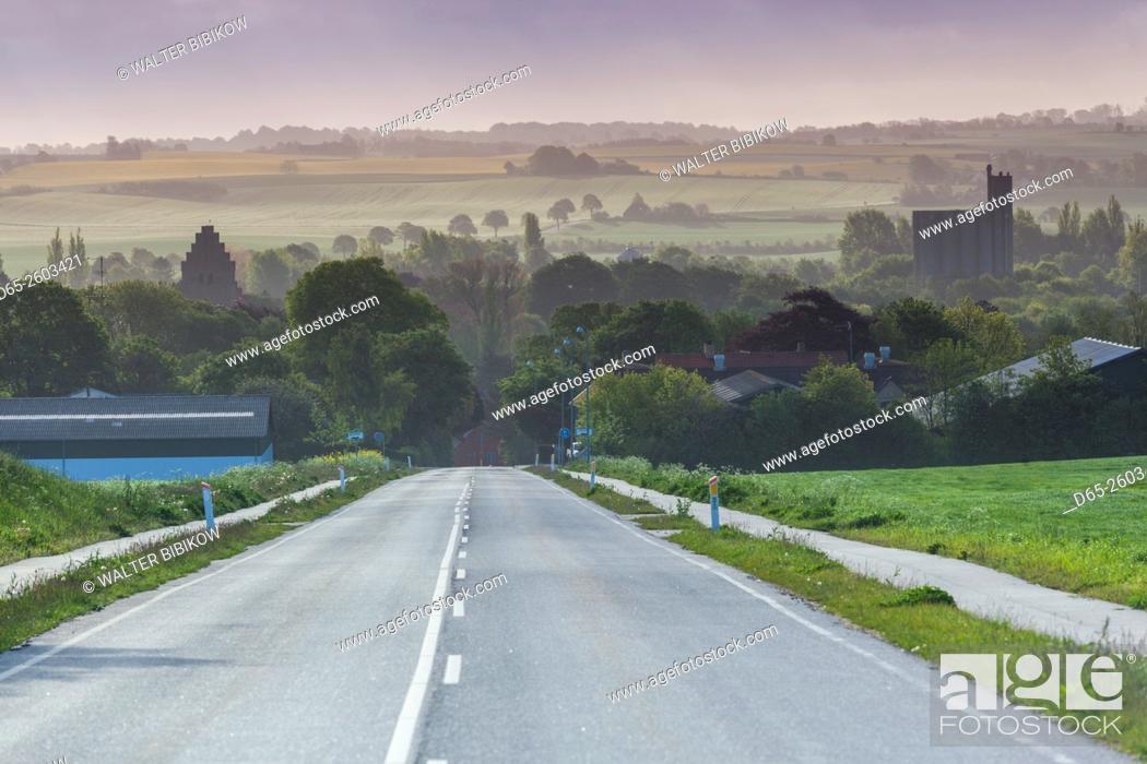 Stock Photo: Denmark, Mon, Borre, elevated village view.