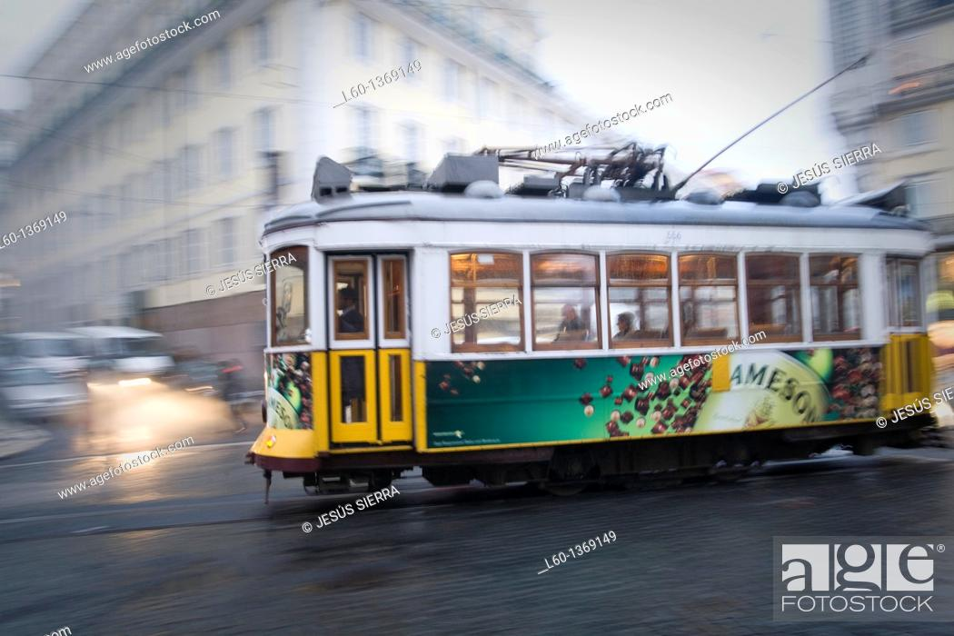 Stock Photo: Tram in 'Barrio de Chiado', Lisboa, Portugal.