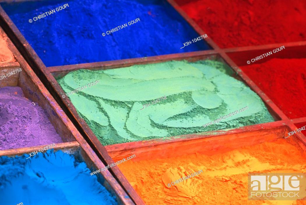 Stock Photo: colored dyeing powder,Nepal,Himalaya,South Asia.