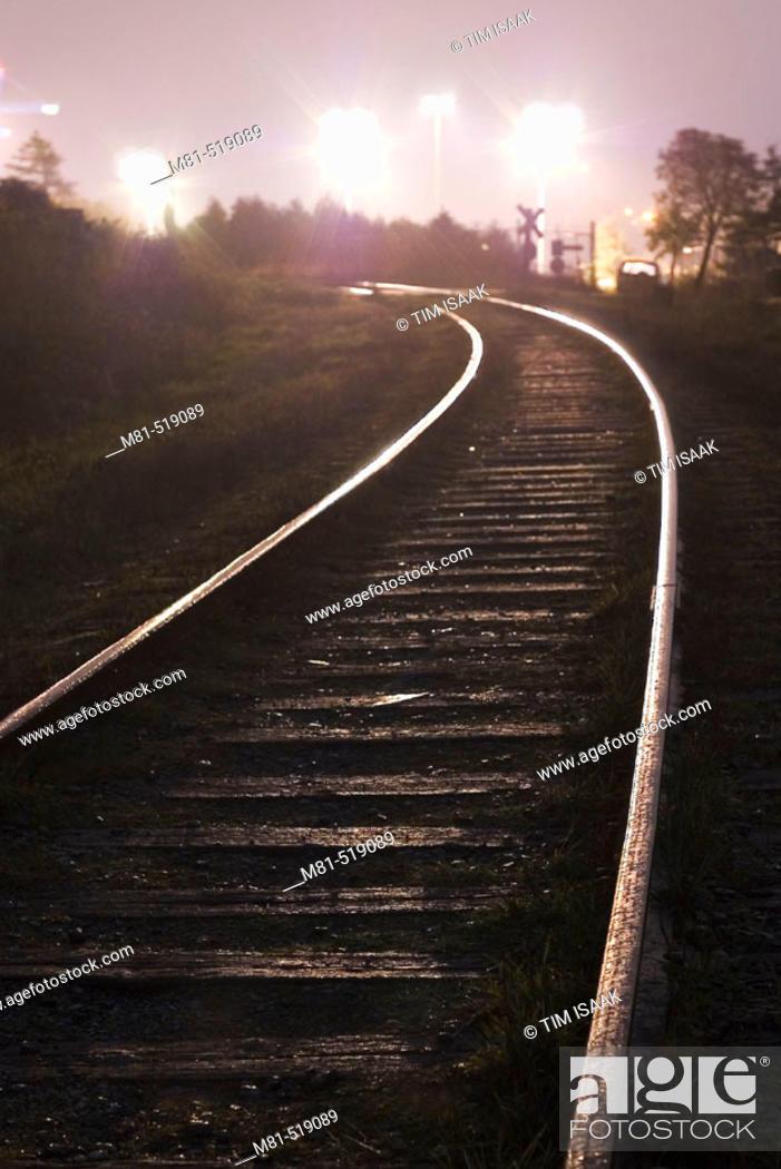 Stock Photo: Tracks of E&N Railway. Esquimalt, British Columbia, Canada, March 2006.