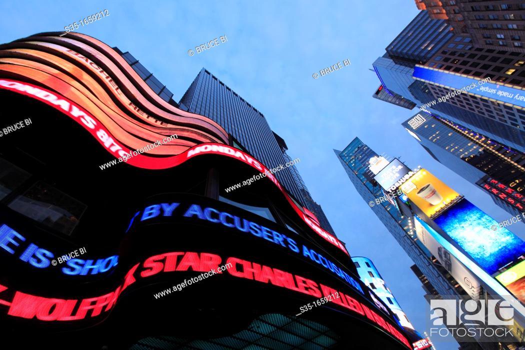 Stock Photo: The twilight view of Times Square  Manhattan  New York City  USA.