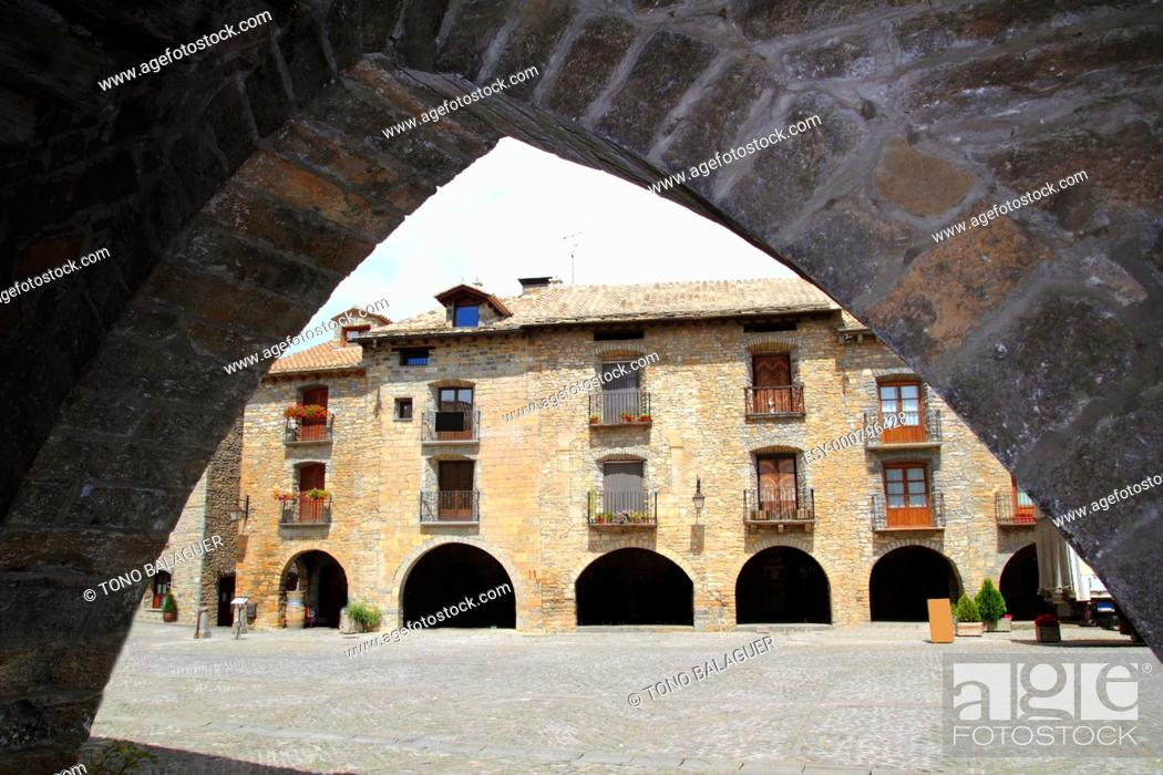 Stock Photo: Ainsa medieval romanesque village streets in Huesca Aragon Pyrenees spain.