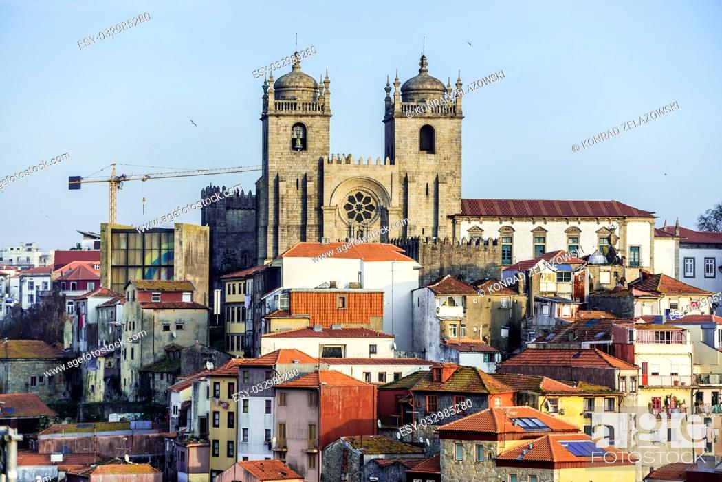 Stock Photo: Aerial view with Se Cathedral with Chapter House and Convent in Porto city on Iberian Peninsula, second largest city in Portugal.