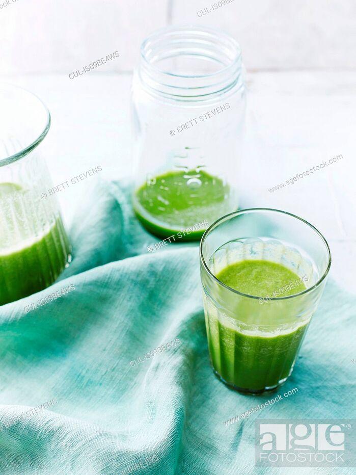 Stock Photo: Watercress, rock melon smoothie.