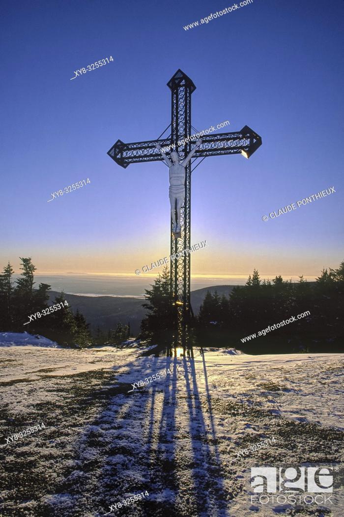 Stock Photo: Metal cross with stylized figure of Jesus Christ. Mont-Mégantic National park, Québec, Canada.