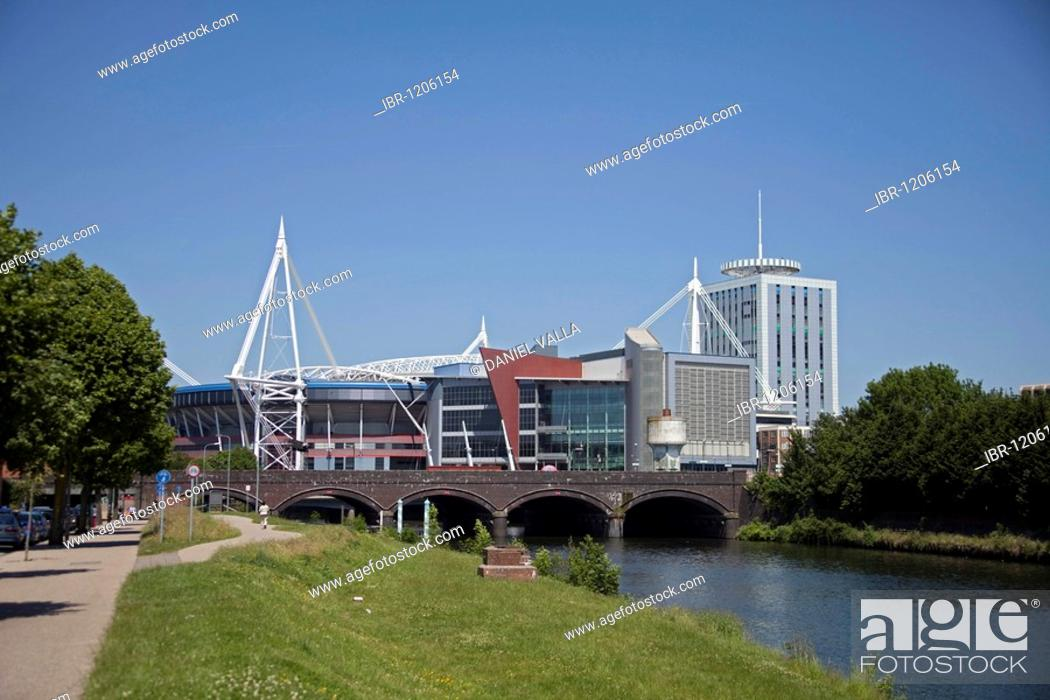 Stock Photo: Millennium Stadium, view from river, Cardiff, Wales, United Kingdom, Europe.
