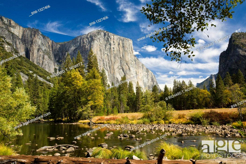 Stock Photo: Yosemite National Park, California  Merced River with El Capitan and the Cathedral Rocks.