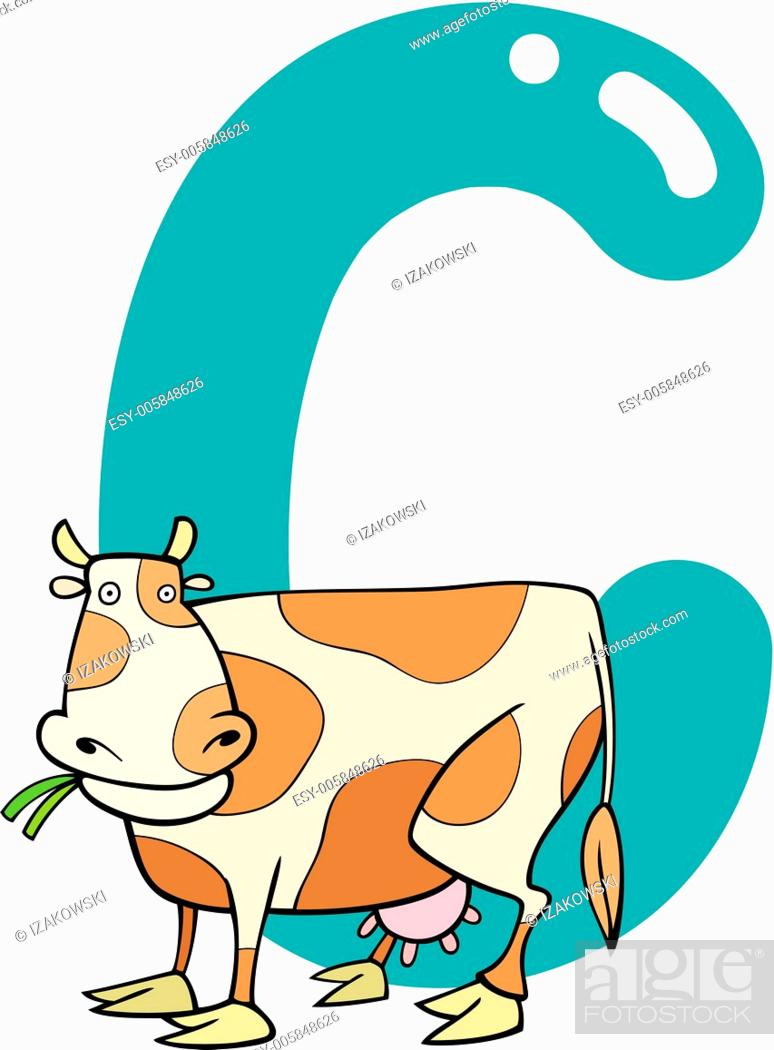 Stock Vector: C for cow.