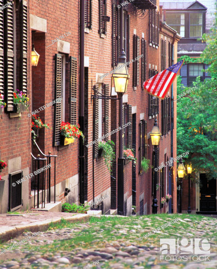 Stock Photo: Acorn Street. Boston. Massachusetts. USA.
