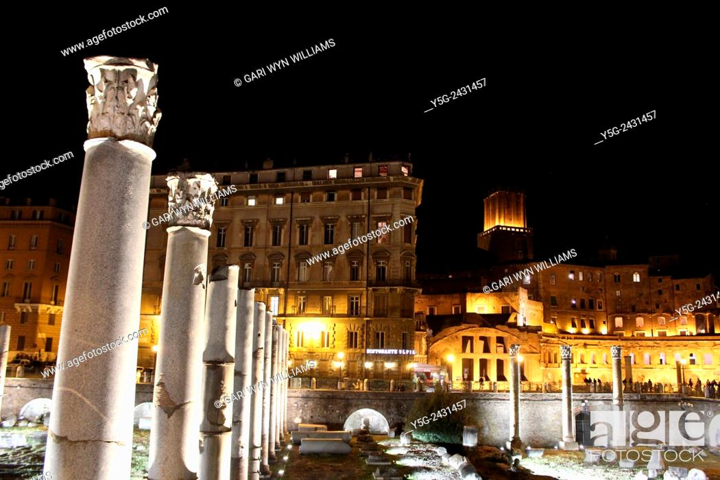 Stock Photo: Light show at the Forum of Trajan archaeological site in Rome Italy.