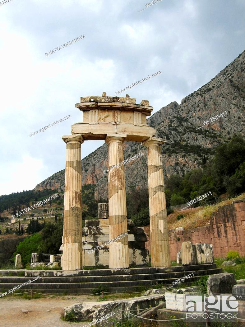 Stock Photo: Temple of Athena pronoia at Delphi oracle in Greece.