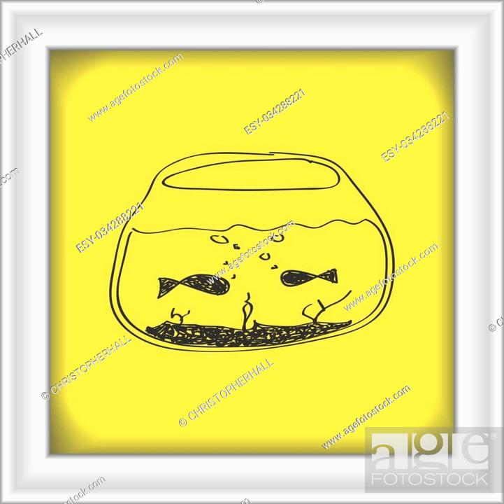 Stock Vector: Simple hand drawn doodle of a goldfish bowl.