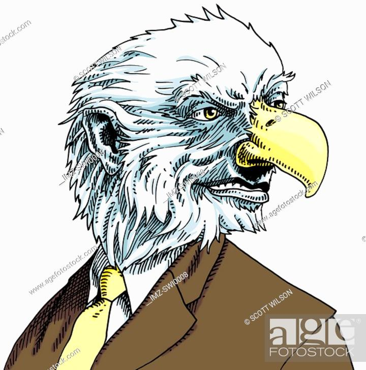 Stock Photo: Businessman with eagles head.