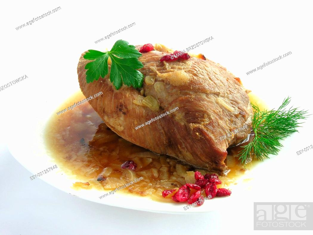 Stock Photo: baked pork meat.