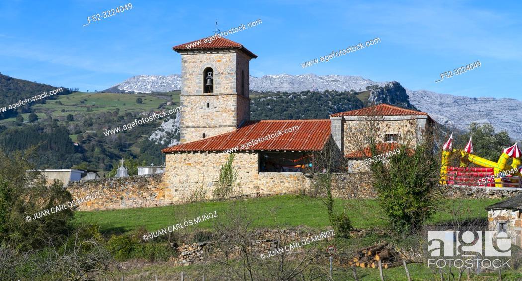 Stock Photo: Santa Juliana church, Santayana, Soba Valley, Valles Pasiegos, Cantabria, Spain, Europe.