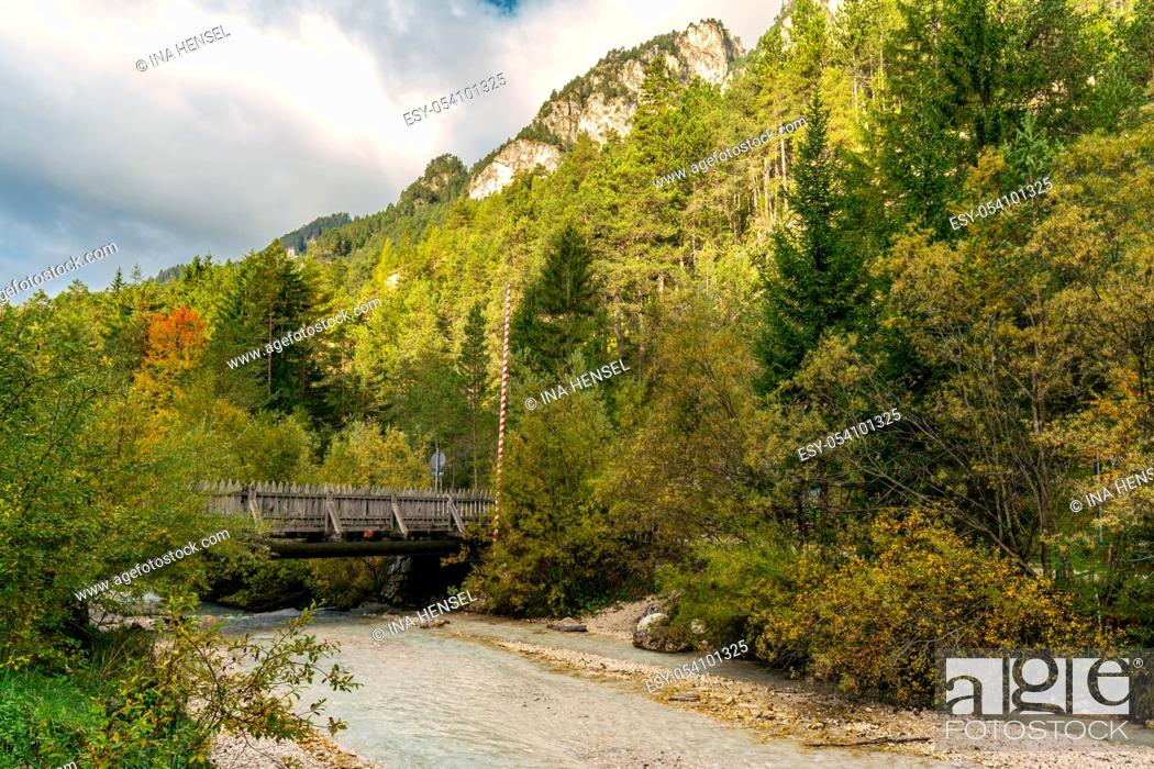 Stock Photo: Beautiful autumn view of the Tschaminbach mountain stream close to the nature park museum Schlern Rosengarten in Weisslahnbad near Tiers, Italy.