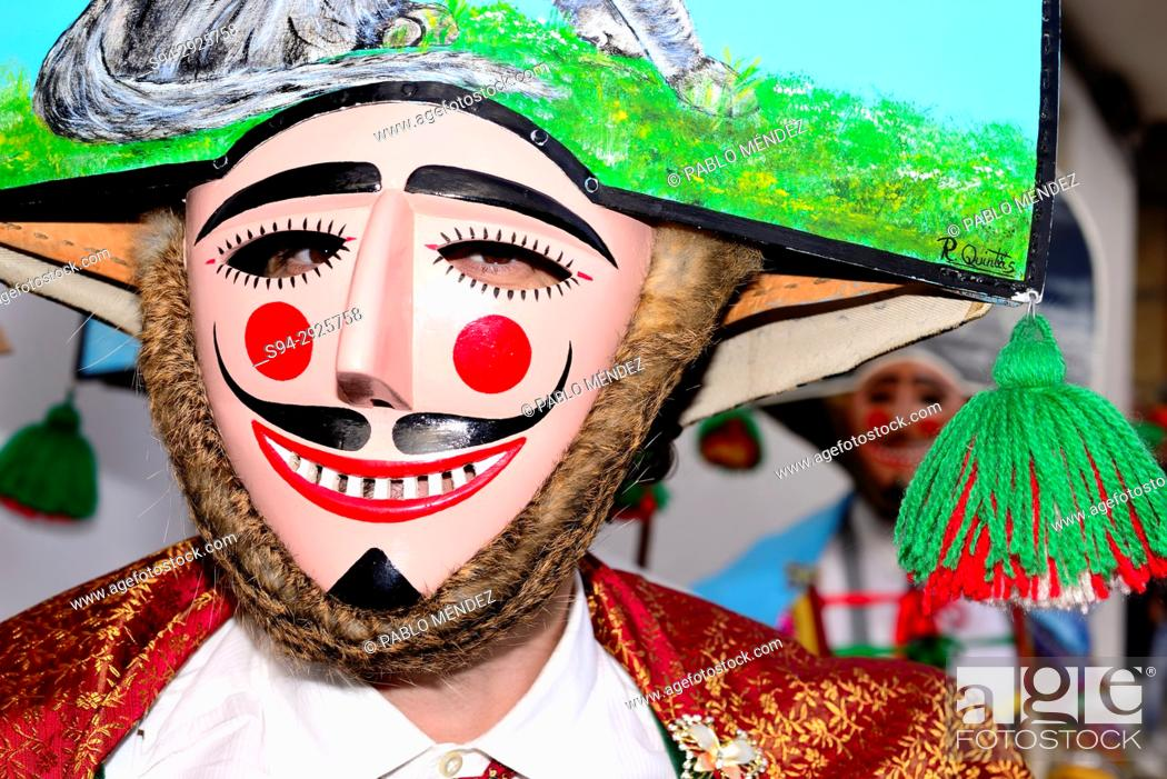 "Stock Photo: Peliqueiros of Laza, mask of the Entroido """"carnival"""" in Laza, Orense, Spain."