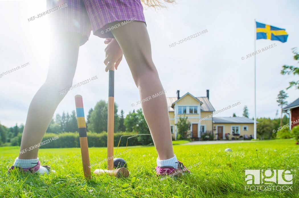 Stock Photo: Playing croquet.