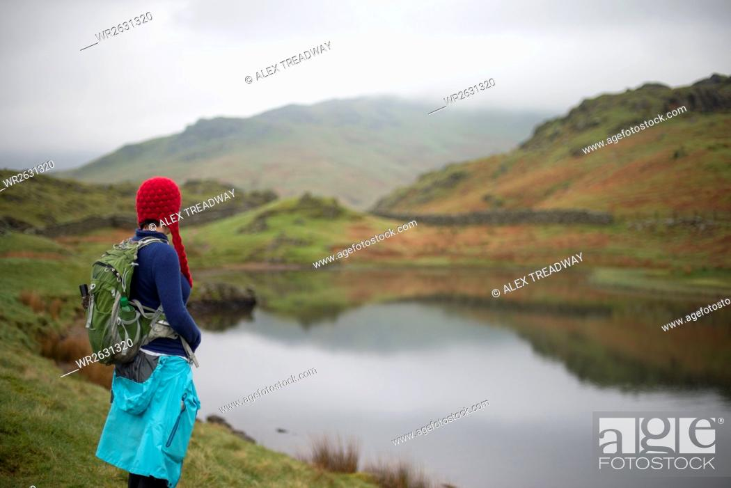 Stock Photo: A woman looks out over Alcock Tarn near Grasmere, Lake District, Cumbria, England, United Kingdom, Europe.