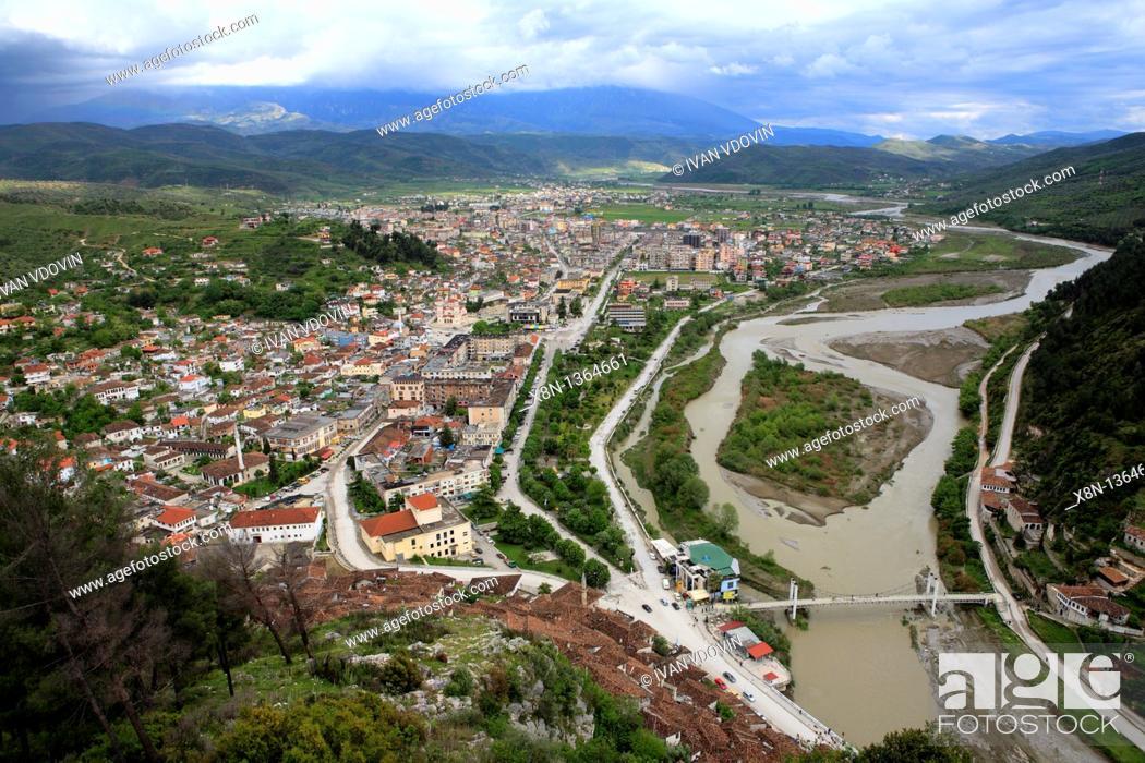 Stock Photo: View from citadel to city centre, Berat, Albania.