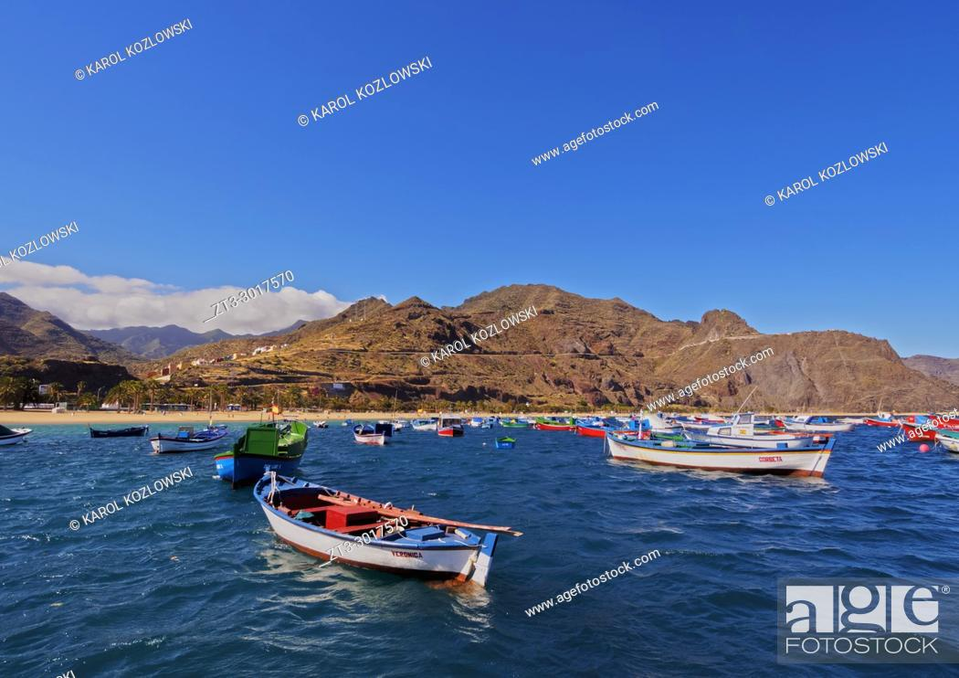 Stock Photo: Colourful fishing boats by the Las Teresitas Beach, San Andres, Tenerife Island, Canary Islands, Spain.