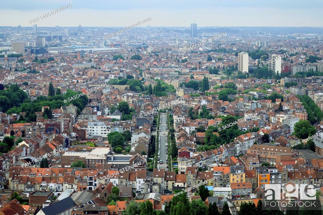 Stock Photo: A view from the Atomium of residential areas in the Belgian capital Brussels, pictured on 26.06.2017. The City of Brussels is the capital of the Kingdom of.