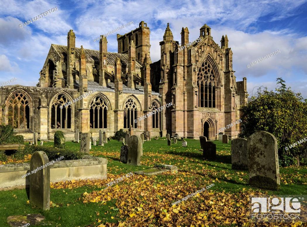 Stock Photo: View of Melrose Abbey in Scottish Borders, Scotland, United Kingdom.